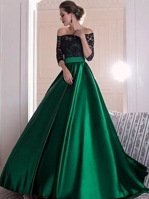 A-Line/Princess Off-the-Shoulder 3/4 Sleeves Sweep/Brush Train Satin Dresses with Ruffles
