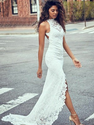 Trumpet/Mermaid Halter Sleeveless Sweep/Brush Train Lace Wedding Dresses with Lace