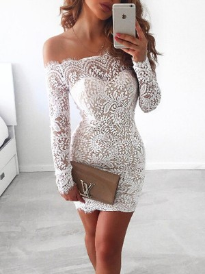 Sheath/Column Off-the-Shoulder Long Sleeves Short/Mini Lace Dresses with Lace