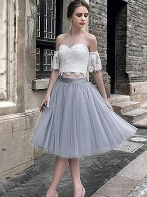 A-Line/Princess Sweetheart Sleeveless Tea-Length Tulle Dresses with Lace