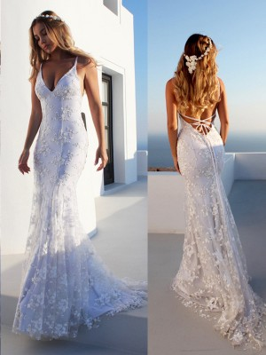 Trumpet/Mermaid Spaghetti Straps Sleeveless Court Train Tulle Wedding Dresses with Lace