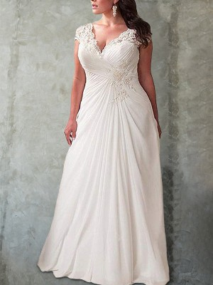 Empire Sweetheart Long Sleeves Sweep/Brush Train Chiffon Wedding Dresses with Lace