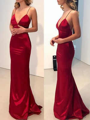Sheath/Column Spaghetti Straps Sleeveless Sweep/Brush Train Silk Like Satin Dresses