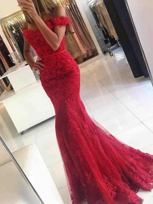 Trumpet/Mermaid Off-the-Shoulder Sleeveless Sweep/Brush Train Tulle Dresses with Applique