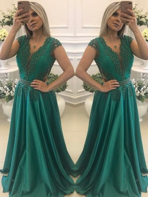 A-Line/Princess V-neck Short Sleeves Floor-Length Silk Like Satin Dresses with Beading