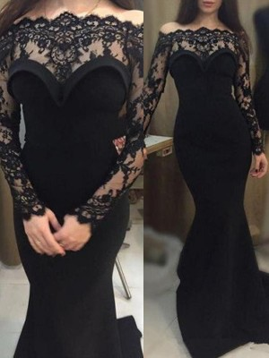 Trumpet/Mermaid Off-the-Shoulder Long Sleeves Sweep/Brush Train Elastic Woven Satin Dresses with Lace