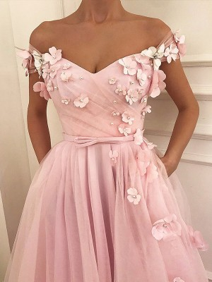 A-Line/Princess Off-the-Shoulder Sleeveless Floor-Length Tulle Dresses with Applique