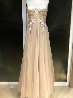 Empire Sweetheart Sleeveless Floor-Length Tulle Dresses with Applique