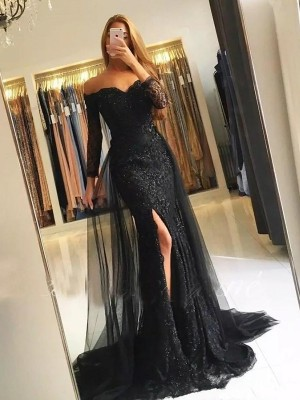 Trumpet/Mermaid Off-the-Shoulder Long Sleeves Sweep/Brush Train Tulle Dresses with Lace