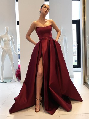 Ball Gown Strapless Sleeveless Sweep/Brush Train Satin Dresses with Ruffles