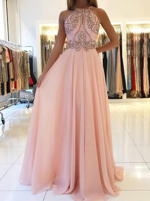 Halter Sleeveless Sweep/Brush Train Tulle Dresses with Beading