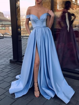 A-Line/Princess Off-the-Shoulder Sleeveless Sweep/Brush Train Satin Dresses with Ruffles