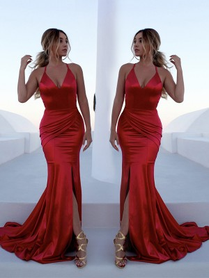 Trumpet/Mermaid Halter Sleeveless Sweep/Brush Train Satin Dresses with Ruffles