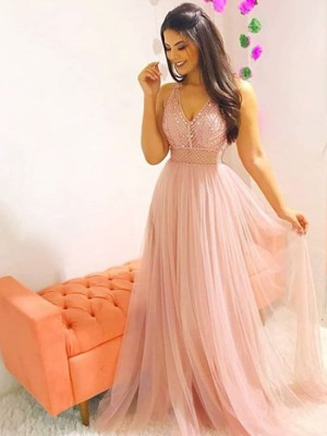 A-Line/Princess V-neck Sleeveless Sweep/Brush Train Tulle Dresses with Crystal