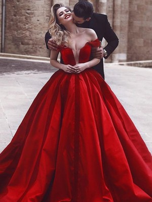 Ball Gown Off-the-Shoulder Sleeveless Sweep/Brush Train Satin Dresses with Ruffles