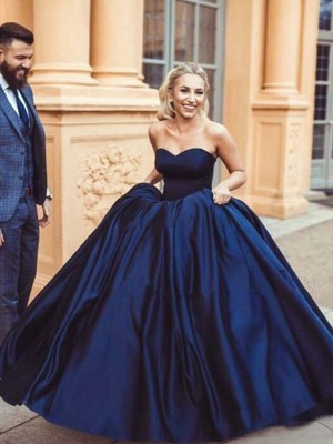 Ball Gown Sweetheart Sleeveless Sweep/Brush Train Satin Dresses with Ruffles
