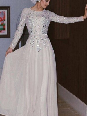 A-Line/Princess Scoop Long Sleeves Floor-Length Chiffon Dresses with Crystal