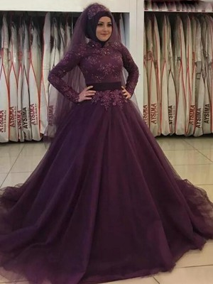 Ball Gown High Neck Long Sleeves Sweep/Brush Train Tulle Dresses with Applique