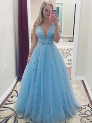 A-Line/Princess V-neck Sleeveless Floor-Length Tulle Dresses with Pearls