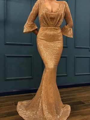 Trumpet/Mermaid V-neck 3/4 Sleeves Sweep/Brush Train Sequins Dresses with Ruffles