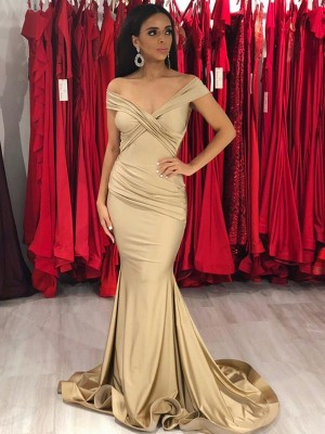 Trumpet/Mermaid Off-the-Shoulder Sleeveless Sweep/Brush Train Spandex Dresses with Ruffles