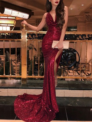 Trumpet/Mermaid V-neck Sleeveless Sweep/Brush Train Sequins Dresses with Ruffles