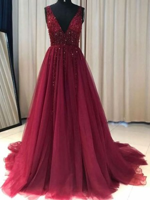 A-Line/Princess V-neck Sleeveless Sweep/Brush Train Tulle Dresses with Ruffles