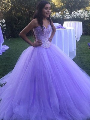 Ball Gown Sweetheart Sleeveless Sweep/Brush Train Tulle Dresses with Beading