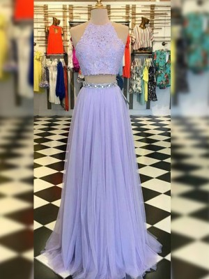 A-Line/Princess Halter Sleeveless Floor-Length Tulle Dresses with Lace