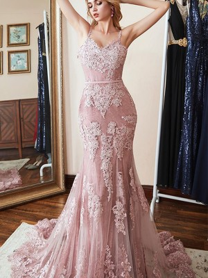 Trumpet/Mermaid Sleeveless Spaghetti Straps Sweep/Brush Train Applique Lace Dresses