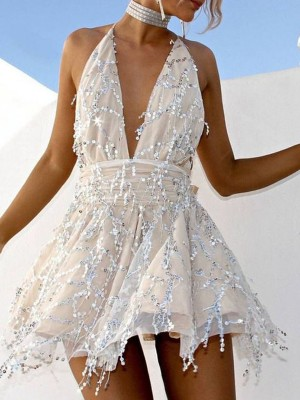 A-Line/Princess Chiffon Beading Halter Sleeveless Short/Mini Homecoming Dress