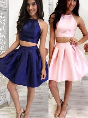 A-Line/Princess Satin Ruffles Halter Sleeveless Short/Mini Two Piece Homecoming Dress