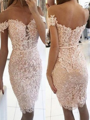Sheath/Column Lace Off-the-Shoulder Sleeveless Knee-Length Homecoming Dress