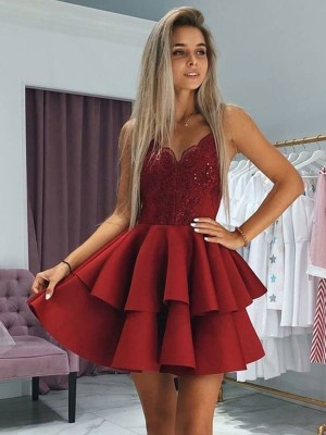 A-Line/Princess Satin Ruffles Spaghetti Straps Sleeveless Short/Mini Homecoming Dresses