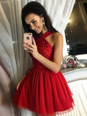 A-Line/Princess Tulle Paillette Halter Sleeveless Short/Mini Homecoming Dresses