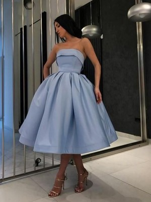 Ball Gown Satin Ruffles Strapless Sleeveless Tea-Length Homecoming Dresses