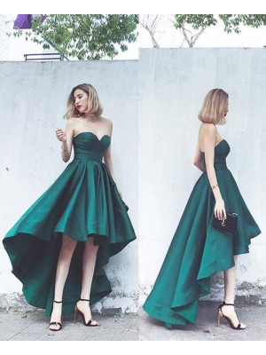 A-Line/Princess Satin Ruffles Sweetheart Sleeveless Asymmetrical Cocktail Dresses