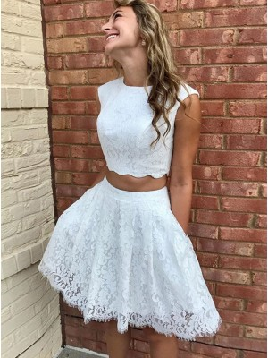 A-Line/Princess Lace Lace Scoop Sleeveless Short/Mini Cocktail Dresses