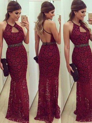 Sheath/Column Halter Sleeveless Floor-Length Lace Dresses with Beading