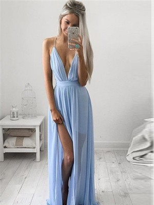 A-Line/Princess Spaghetti Straps Sleeveless Floor-Length Chiffon Ruched Dresses