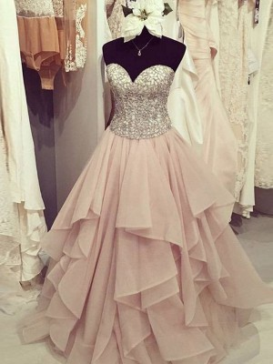 Ball Gown Sweetheart Sleeveless Floor-Length Chiffon Dresses with Beading