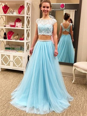 A-Line/Princess Scoop Sleeveless Floor-Length Tulle Dresses with Beading