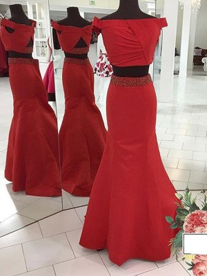 Trumpet/Mermaid Off-the-Shoulder Sleeveless Sweep/Brush Train Satin Ruched Dresses