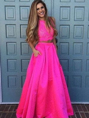 A-Line/Princess Scoop Sleeveless Floor-Length Satin Dresses with Lace