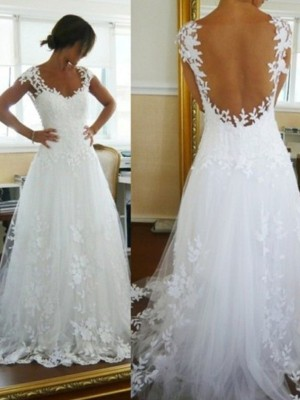 A-Line/Princess V-neck Sleeveless Sweep/Brush Train Tulle Wedding Dresses with Lace