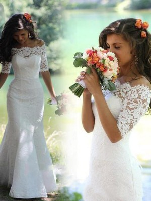 Trumpet/Mermaid Off-the-Shoulder 1/2 Sleeves Sweep/Brush Train Lace Wedding Dresses with Lace