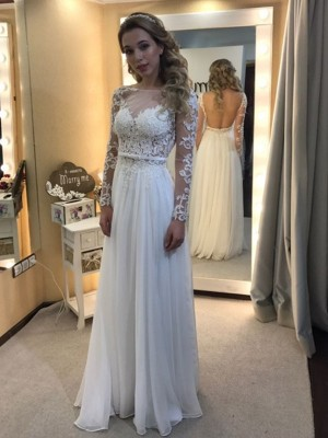 A-Line/Princess Bateau Long Sleeves Floor-Length Chiffon Wedding Dresses with Lace