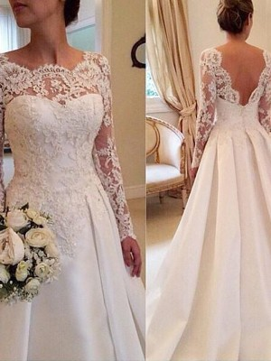 Ball Gown Scoop Long Sleeves Court Train Satin Wedding Dresses with Lace