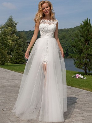 Sheath/Column Scoop Sleeveless Floor-Length Tulle Wedding Dresses with Lace