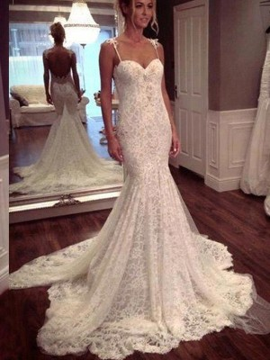 Trumpet/Mermaid Spaghetti Straps Sleeveless Court Train Lace Wedding Dresses with Lace